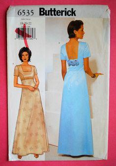 Uncut Easy Misses A-Line Lined Evening Length Princess Seams Raised Waist Short Sleeve Formal Dress Size 18 20 22 Sewing Pattern Butterick