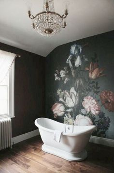 Beautiful floral wall art in bathroom