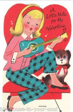 Vintage Valentine Card Girl Plays Ukulele Beagle Dog