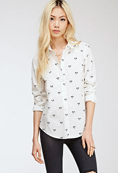 mickey print button up