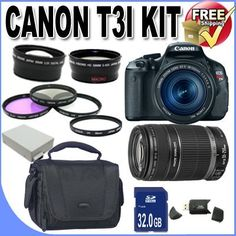 Rebel T3i 18 MP CMOS Digital SLR Camera and DIGIC 4 Imaging with EF-S 18-55mm f/3.5-5.6 IS Lens & Canon 55-250IS Lens + 58mm 2x Telephoto lens + 58mm Wide Angle Lens (4 Lens Kit!!!!!!) W/32GB SDHC Memory+ 2 Extra Batteries + Charger + 3 Piece Filter Kit + UV Filter + Full Size Tripod + Case +Accessory Bundle! by Canon. $859.00. Kit Includes! 1- Canon EOS Rebel T3i 18 MP CMOS Digital SLR Camera and DIGIC 4 Imaging with EF-S 18-55mm f/3.5-5.6 IS Lensw/ All Supplied Acce...