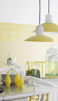 Raikas keltainen piristää myös valaisimia. Varjostimet on maalattu Helmi kiiltävällä, Greippi S302. Room Wall Colors, Yellow Accents, Accent Colors, Ceiling Lights, Colour, Interior, Inspiration, Ideas, Home Decor
