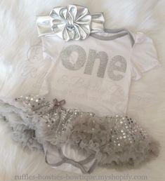 "Silver ""One"" Birthday Dress"