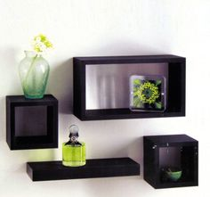 Set of 4 Black Wooden Wall Mounted Retro Floating Cube Shelving Storage Display…