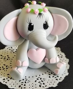 Elephant Cake Topper Baby Shower Elephant in Gray with Pink Flower Crown