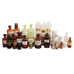 collection of apothecary bottles and jars circa 1900 from a unique collection of antique apothecary furniture collection