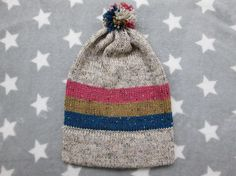Knit Pride Hat  Bi Pride  Cream Wool Tweed