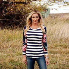 Chulianyouhuo Fashion Women Floral Stripe Printing Long Sleeve Splice Long Sleeve T-Shirt Ladies Casual Tops T-shirts