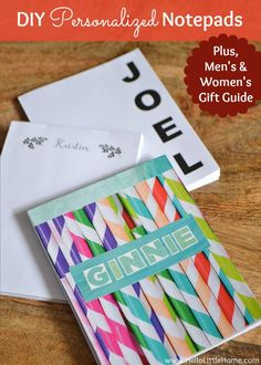 DIY Personalized Notepads + Men's and Women's Gift Guides | Hello Little Home #holidays #PaperCraft #GiftGuide