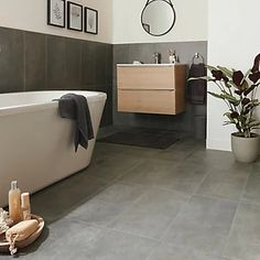 Structured Grey Matt Concrete effect Porcelain Floor tile, Pack of 6, (L)600mm (W)300mm Concrete Color, Concrete Tiles, Concrete Design, Bathroom Floor Tiles, Tile Floor, Modern Kitchen Tiles, Small Toilet Design, Insulated Garden Room, Ideal Bathrooms