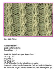 A stitch pattern Baby Knitting Patterns, Knitted Washcloth Patterns, Baby Booties Knitting Pattern, Knitting Stiches, Cable Knitting, Easy Knitting, Knitting Designs, Knitting Yarn, Knitting Ideas