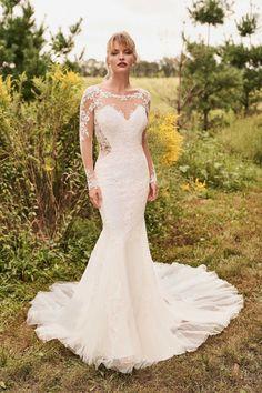 Lillian West, Long Sleeve Bridal Dresses, Bridal Gowns, Wedding Dresses, Justin Alexander, Sabrina Neckline, Boho, Bridal Collection, Flare Dress