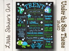 1st Birthday Chalkboard Under the Sea Design by Littlestinkersart, $32.00