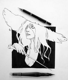43 ideas drawing ink ideas sketch books for 2019 Ink Pen Drawings, Art Drawings Sketches, Ink Illustrations, Illustration Art, Witch Drawing, Drawing Drawing, Drawing Ideas, Arte Dark Souls, Arte Sketchbook