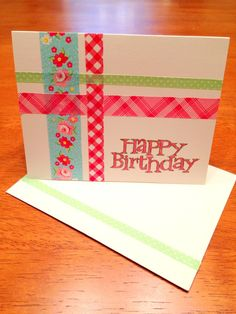 Simple washi tape birthday card to make for your sponsored child