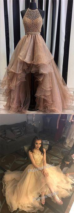 2017 Beading Halter New Arrival Hi-Low Long Prom Dresses, BG0087