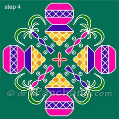 This page provides Sankranti Rangoli Designs with title Pongal Rangoli 8 for Hindu festivals.