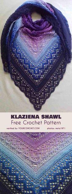 Shawl Patterns 56717276543001775 - Klaziena Shawl Free Crochet Pattern Source by camillesaubesty Crochet Shawl Free, Pull Crochet, Crochet Shawls And Wraps, Love Crochet, Crochet Scarves, Crochet Clothes, Lace Shawls, Crochet Summer, Knitting Scarves