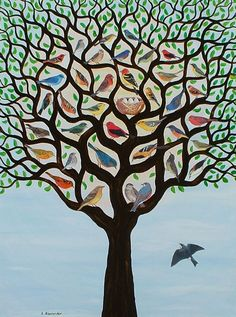 Plusieurs Oiseaux des Arbres de Vie. (Many birds from the trees of life).  by Lynne Alexander