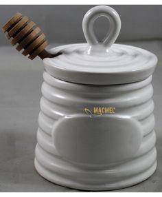Potinho para Mel com Colher Branco 2 #mel #miel #potinho #tarro #natal Bee Gifts, Jar, Honeypot, Jars, Xmas, Glass