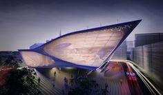 Daegu Library Competition Entry by Synthesis Design + Architecture in Daegu, South Korea Futuristic Architecture, Amazing Architecture, Architecture Design, Futuristic City, Daegu, Urban Fabric, Modern Architects, Library Design, Beautiful Buildings