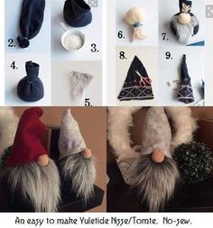 Ever since a visit to Denmark I really liked the Scandinavian Christmas gnomes (or tomte, nisse.Scandinavian Tomte Ollie Nordic Nisse by DaVinciDollDesignsDIY Gnome made from a pair of socksMake an elf: easy instructions and original ideas for last-m Crafts To Make, Holiday Crafts, Diy Crafts, Christmas Crafts To Sell, Easy Diy Christmas Gifts, Sock Crafts, Spring Crafts, Decor Crafts, Home Decor