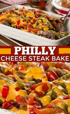 Your favorite sandwich, deconstructed into a tasty casserole. The Philly Cheese Steak Bake is a family-favorite! Mr Food Recipes, Cooking Recipes, Savoury Recipes, Cooking Ideas, Food Ideas, Philly Cheese Steak Sandwich, Steak Sandwich Recipes, Steak Bake, Roast Beef With Vegetables