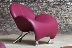 Jean Armgardt luxury leather purple armchair
