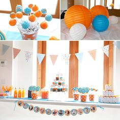 Orange and Blue themed party. I like the circle picture banner at the bottom.