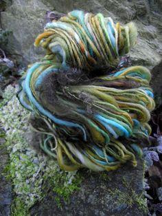 Handspun art yarn, handpainted thick and thin yarn, soft wool locks of mohair worsted yarn-EUPHROSYNE