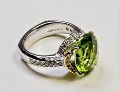 Platinum And 18ky Gold Ring With Royal Peridot, White And Yellow Diamonds