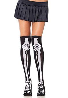 f79420bf13f69 Skeleton Bones Black Thigh High Socks Gothic Punk Costume Halloween Cosplay  New