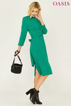 Buy Oasis Green Wiggle Wrap Dress from the Next UK online shop Party Looks, Next Uk, Uk Online, Oasis, Wrap Dress, Dresses For Work, Lady, Casual, Green