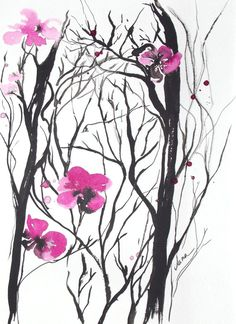 Cherry Blossom Tree Flowers Ink Original Watercolor Painting