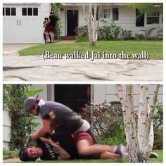 Jai brooks trying to beat up beau brooks bc beau walked him in a wall blind folded haha poor jai typical beau