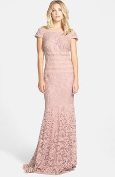 Tadashi Shoji Textured Lace Mermaid Gown on shopstyle.com