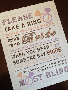 Bridal Shower Game: Don't Say Bride RING by PinkFlamingoParties