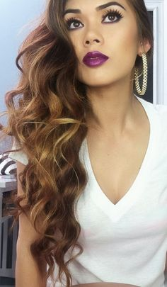 Looove her hair and plum lip color. I'm totally rockin' the dark lip this fall.
