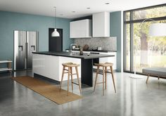 Mix styles with unconventional combinations to produce a kitchen that exudes personality. Bianco by Kvik