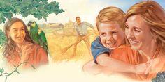Adultos e crianças felizes no Paraíso