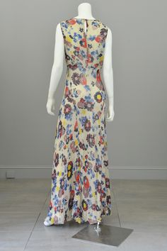 1930s Floral Print Silk Chiffon Vintage Gown and Butterfly Wing Shrug / Bolero