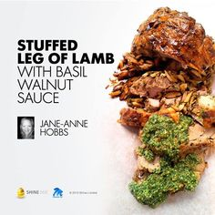 Stuffed Leg of Lamb with a Basil Walnut Sauce. Lamb Cuts, Appetizer Recipes, Appetizers, Walnut Sauce, Slow Roast, Lamb Recipes, Pulled Pork, Good Food, Food And Drink