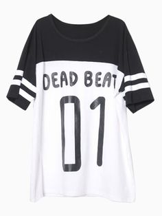DEAD BEAT 01 Print T-shirt with Stripe Cuff   Choies