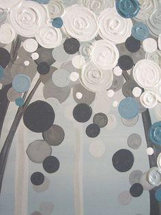 Blue Grey Tree Painting Original Textured by MurrayDesignShop