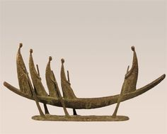 Bronze Boats Ships Canoes Dinghies Sculptures Yachts statue by artist Yladimir Slobodchikov titled: 'In a Boat'