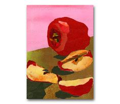 "RED DELICIOUS - 5""x7"" Collage Art Card - Blank Inside - Childhood Memories - Kitchen Art - frame-able -1950's Retro Art Card (CMEM2013078)"
