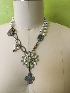 Rhinestone daisy: a vintage assemblage necklace by RevivalBling on Etsy