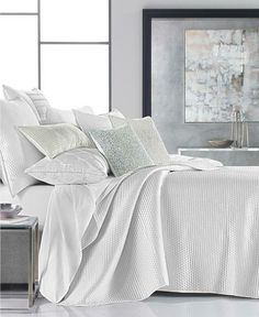 Hotel Collection Olympia White KING Quilted Coverlet #HotelCollection #Contemporary White Quilt Bedding, Comforter, Hotel Collection Bedding, Queen Quilt, Bedding Collections, Bed Spreads, Olympia, Decorative Pillows, Duvet Covers