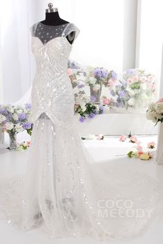 Luxurious Trumpet-Mermaid Train Tulle Ivory Cap Sleeve Wedding Dress with Sequin CWAT14005
