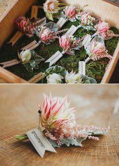 tags for boutonniere Protea Wedding, Floral Wedding, Wedding Flowers, Bouquet Wedding, Purple Wedding, Fall Wedding, Wedding Ideas, Green Boutonniere, Boutonnieres